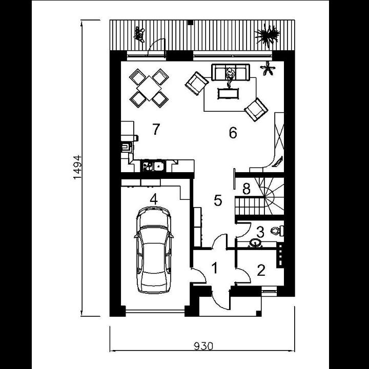 progetto di una casa a schiera di due piani kristina